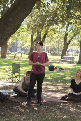 Ryan talks about the CBD Pagan Pub Moots at our first Pagan Pride Day, in 2017. Photo: Mark Hayes Photography