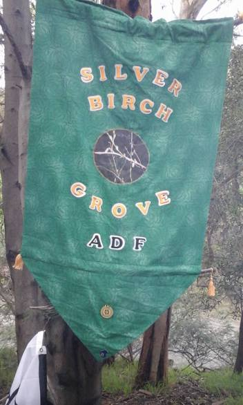 Silver Birch Grove's new banner, Yule 2016. Photo by Dean.